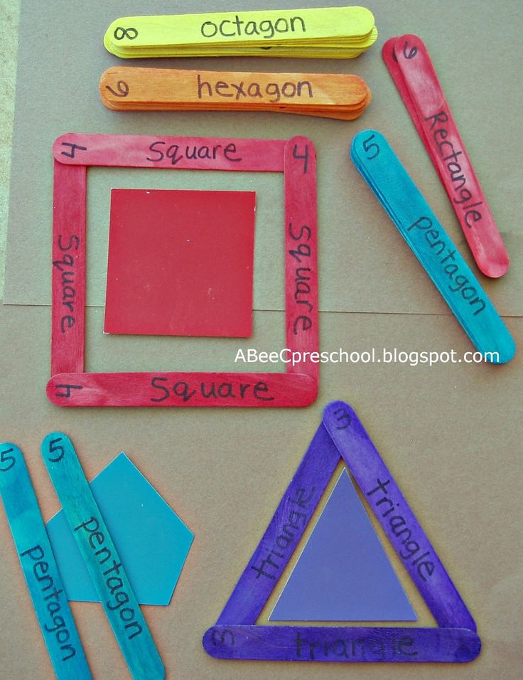 Learn your shapes with colored Popsicle sticks